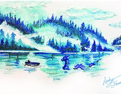 Dragon Lake Oil Painting