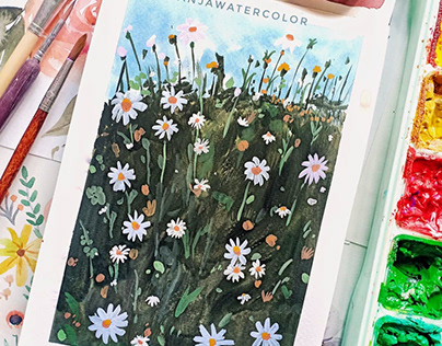 Gouache Painting: Floral and Some Wildflower Meadow
