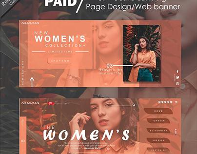 fashion web ui landing page design and banner design