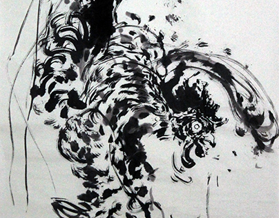 Abstract ink painting series 纸本水墨– Rooster