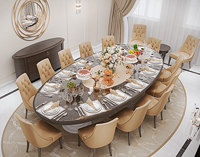 Dining room in modern classic style for private villa