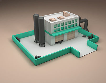 low poly modeling factory
