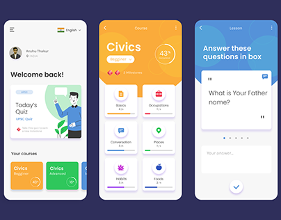 Learning applications UI/UX design