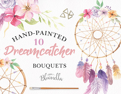 Dreamcatcher Watercolor Floral Feather Set By Bloomella