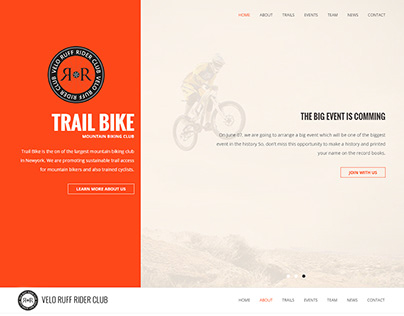 Bicycle Team One Page Website Mock-up