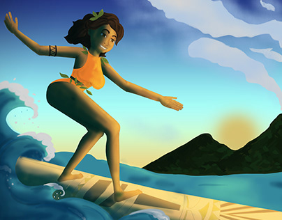 Surfer girl illustration