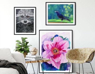 Watercolor prints - mockups