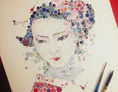 Dotted watercolour geisha