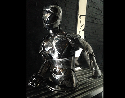 Torso, sculpture made of hammered and forged steel