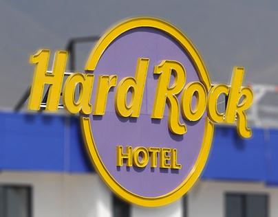 Rótulos exteriores para Hard Rock Hotel en Tenerife.