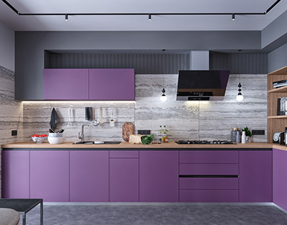 In violet mood: Extraordinary two-level apartment