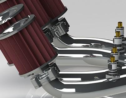 Inlet manifolds 4 cylinder maritieme race engine