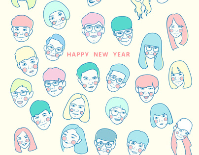 崑山視傳新年祝福系會人員人像插圖|第16屆系學會|活動識別設計