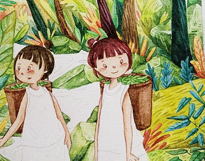 Bana girl in Viet Nam's watercolor painting