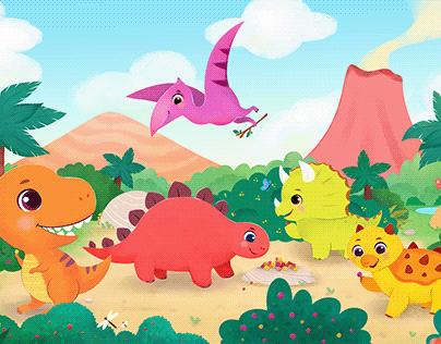 Dinosaurs having fun
