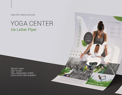Free Yoga Center Flyer in PSD