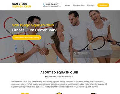 SD Squash Club UI Website Design