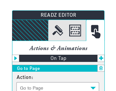 Readz Editor Actions and Animations
