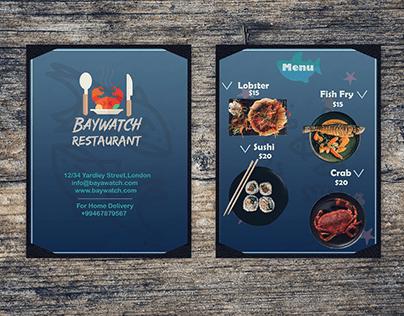 Seafood Restaurant Food Menu