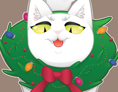 Wreath Cat Card