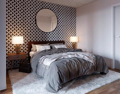 3D rendering of a bedroom suite