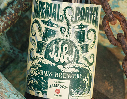 Label design. Collaboration Jaws Brewery and Jameson
