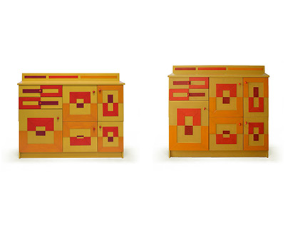 Two cabinets in yellow, orange, red and burgundy
