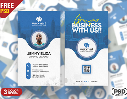 Minimal Vertical Business Card Design PSD