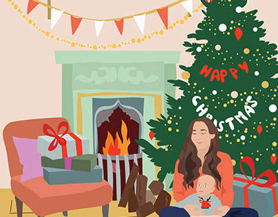 Christmas illustration of a girl in the interior