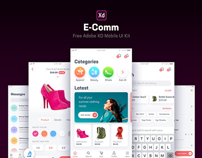 E-Comm Free UI Kit for Adobe XD