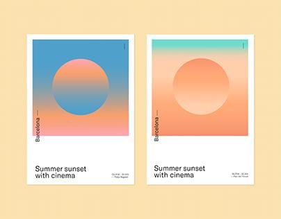 Summer sunset with cinema
