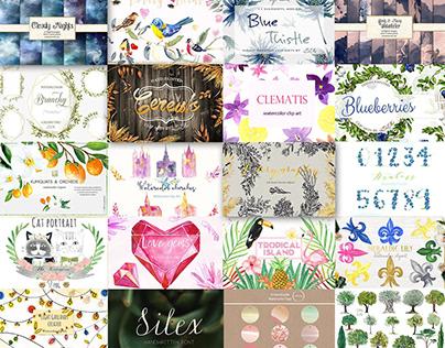 The Divine Watercolor Bundle: Over 2400 Designs