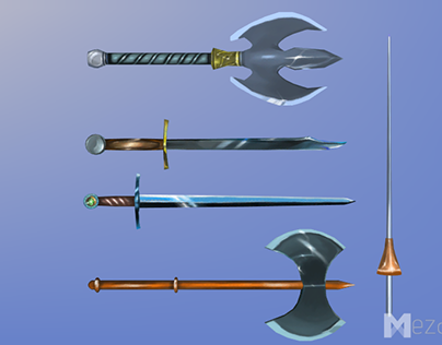 Hand Painted, Low poly Melee Weapons, Medieval