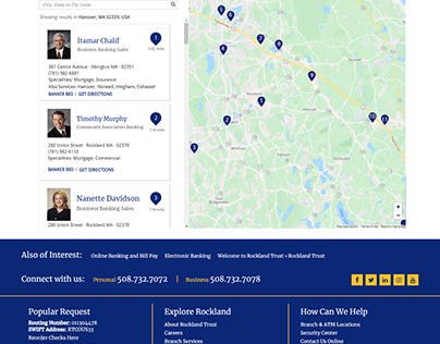 Wireframes for Find a Banker Search Locator