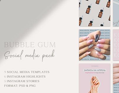 Bubble gum social media pack