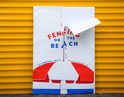 Fencing on the Beach Poster