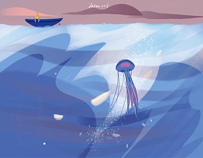 远行的人——Ju(Julin插画)海洋插画,梨夏插画,旅行插画
