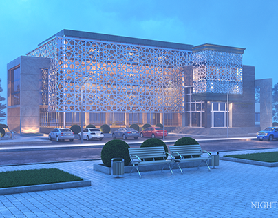 Administartive building Night Fog 3Ds Max-Corona-Ps