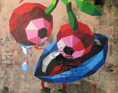 Post-graffiti vector characters on the walls