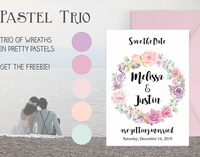 Set of 3 watercolor wreaths in pretty pastels