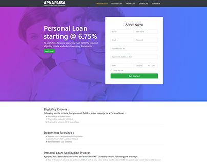 Landing Page for Personal Loan