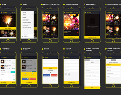 E-commere mobile app wireframes