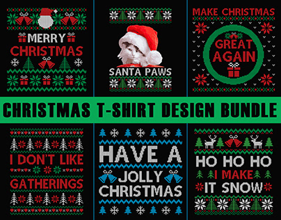 Christmas T shirt Design Bundle