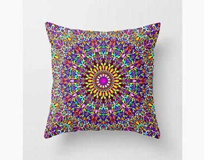 Vivid Life Mandala Throw Pillow