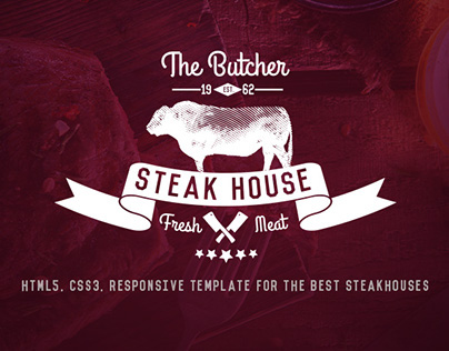The Butcher: HTML5 One Page Template for SteakHouses