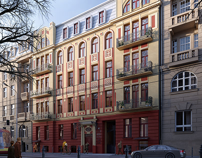 Residential building, Narutowicza 47 St., Łódź, Poland.