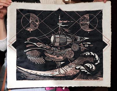 Linogravure Pirates