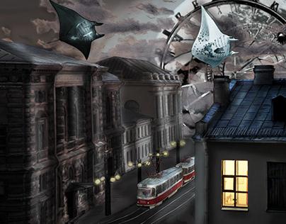 Nighttime city