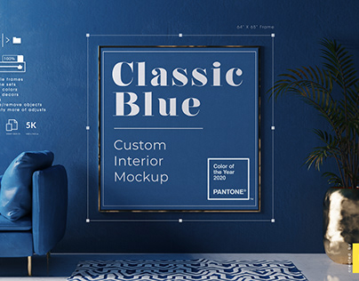 Classic Blue Interior Mockup