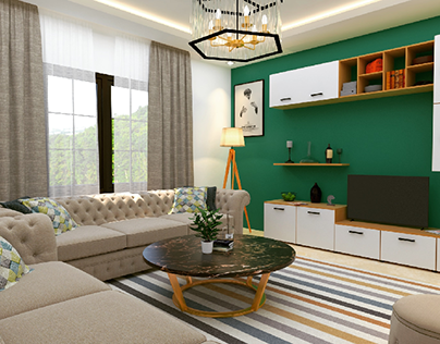 Green living room design